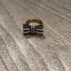 Coach blue and white stripe bow ring